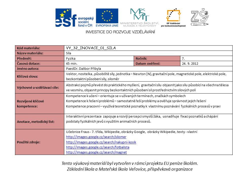 Tento výukový materiál byl vytvořen v rámci projektu EU peníze školám. Základní škola a Mateřská škola Veřovice, příspěvková organizace Kód materiálu: