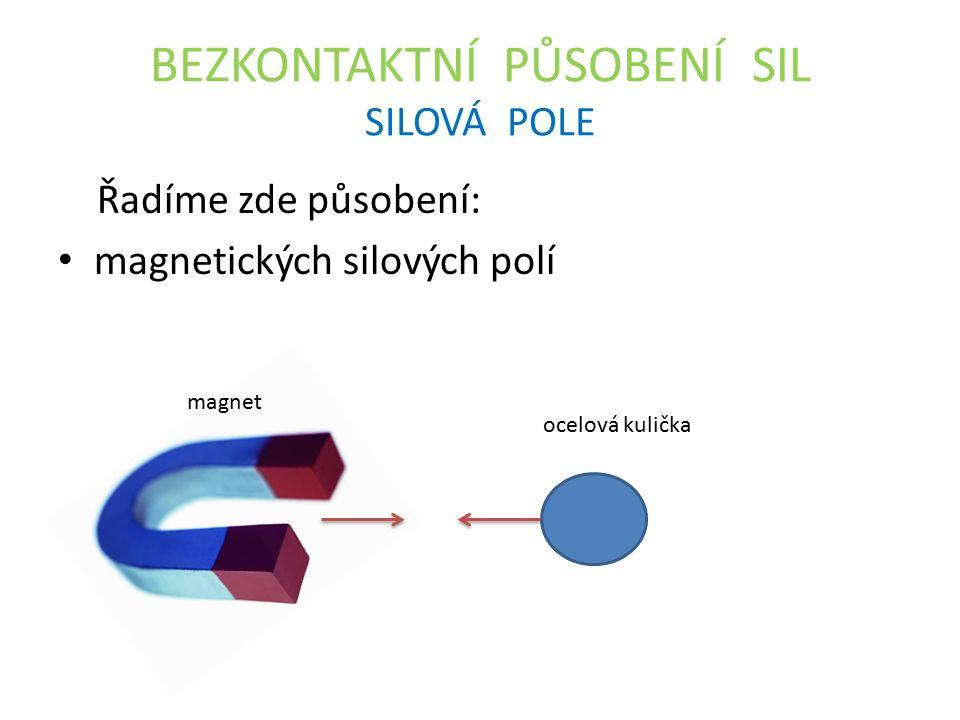 BEZKONTAKTNÍ PŮSOBENÍ SIL SILOVÁ POLE Řadíme zde působení: magnetických silových polí ocelová kulička magnet