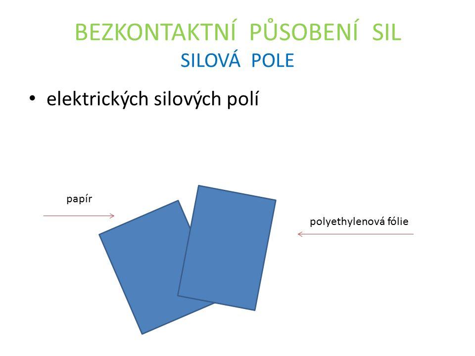 BEZKONTAKTNÍ PŮSOBENÍ SIL SILOVÁ POLE elektrických silových polí papír polyethylenová fólie
