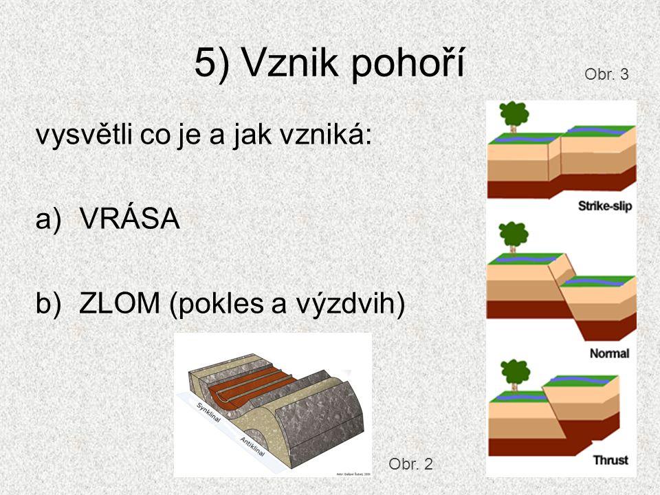 5) Vznik pohoří vysvětli co je a jak vzniká: a)VRÁSA b)ZLOM (pokles a výzdvih) Obr. 3 Obr. 2