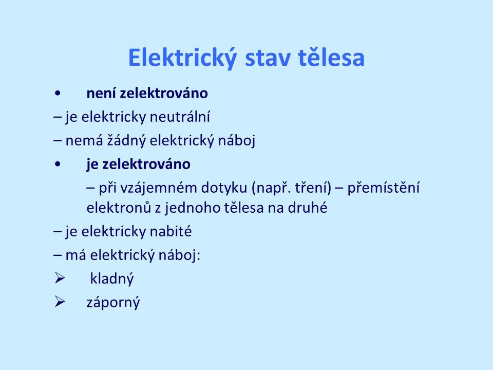 Elektrický stav tělesa není zelektrováno – je elektricky neutrální – nemá žádný elektrický náboj je zelektrováno – při vzájemném dotyku (např.