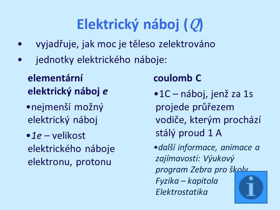 Elektrický náboj ( Q ) vyjadřuje, jak moc je těleso zelektrováno jednotky elektrického náboje: elementární elektrický náboj e nejmenší možný elektrický náboj 1e – velikost elektrického náboje elektronu, protonu coulomb C 1C – náboj, jenž za 1s projede průřezem vodiče, kterým prochází stálý proud 1 A další informace, animace a zajímavosti: Výukový program Zebra pro školy Fyzika – kapitola Elektrostatika