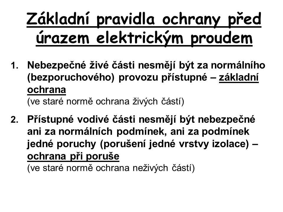 Základní pravidla ochrany před úrazem elektrickým proudem 1. Nebezpečné živé části nesmějí být za normálního (bezporuchového) provozu přístupné – zákl