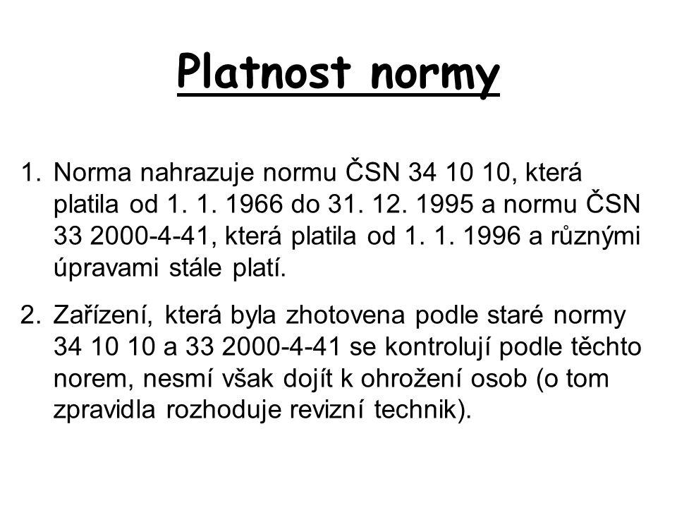 Platnost normy 1.Norma nahrazuje normu ČSN 34 10 10, která platila od 1. 1. 1966 do 31. 12. 1995 a normu ČSN 33 2000-4-41, která platila od 1. 1. 1996