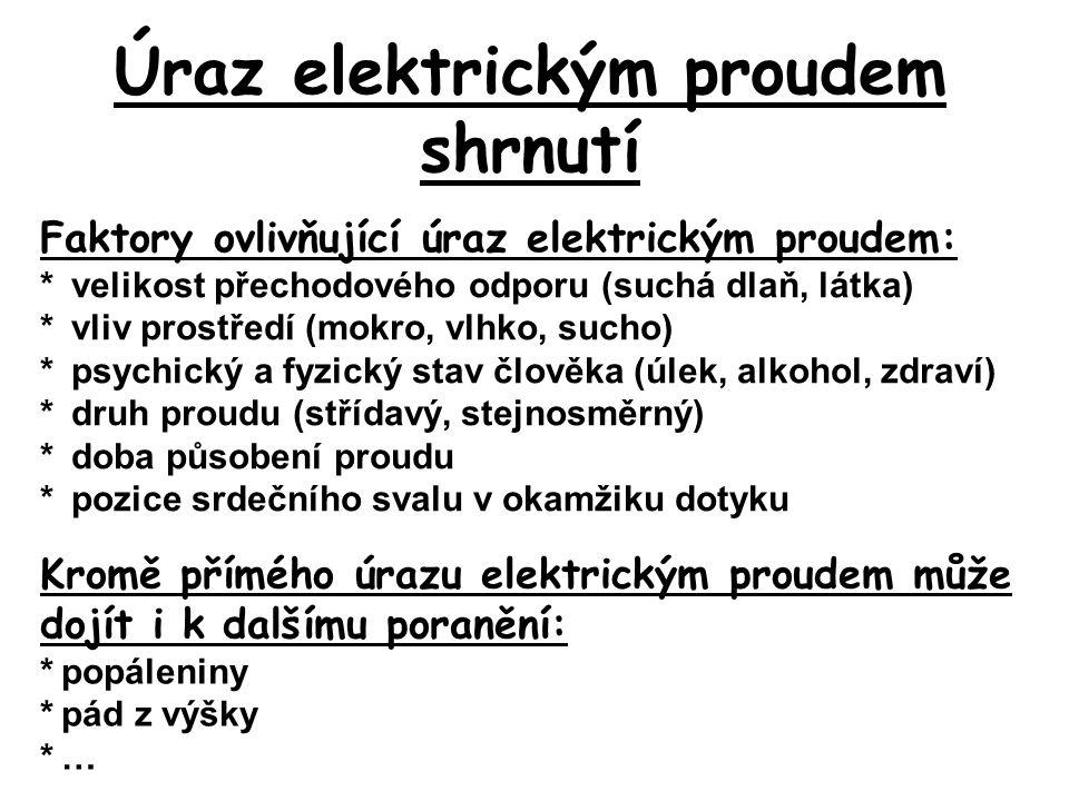 Úraz elektrickým proudem shrnutí Faktory ovlivňující úraz elektrickým proudem: * velikost přechodového odporu (suchá dlaň, látka) * vliv prostředí (mo