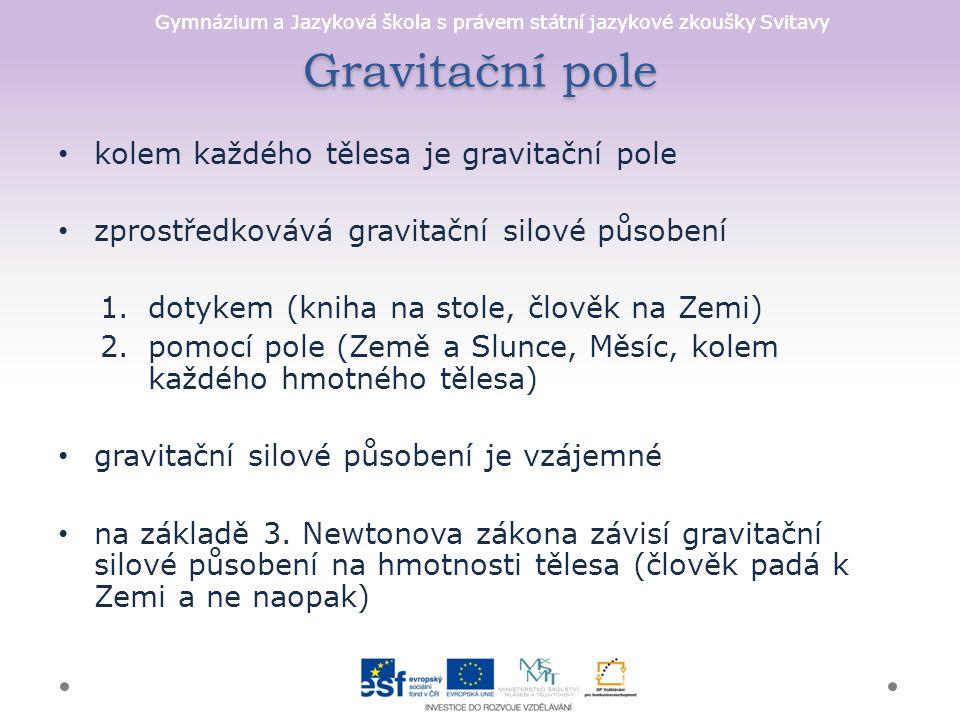 Gymnázium a Jazyková škola s právem státní jazykové zkoušky Svitavy Gravitační pole kolem každého tělesa je gravitační pole zprostředkovává gravitační