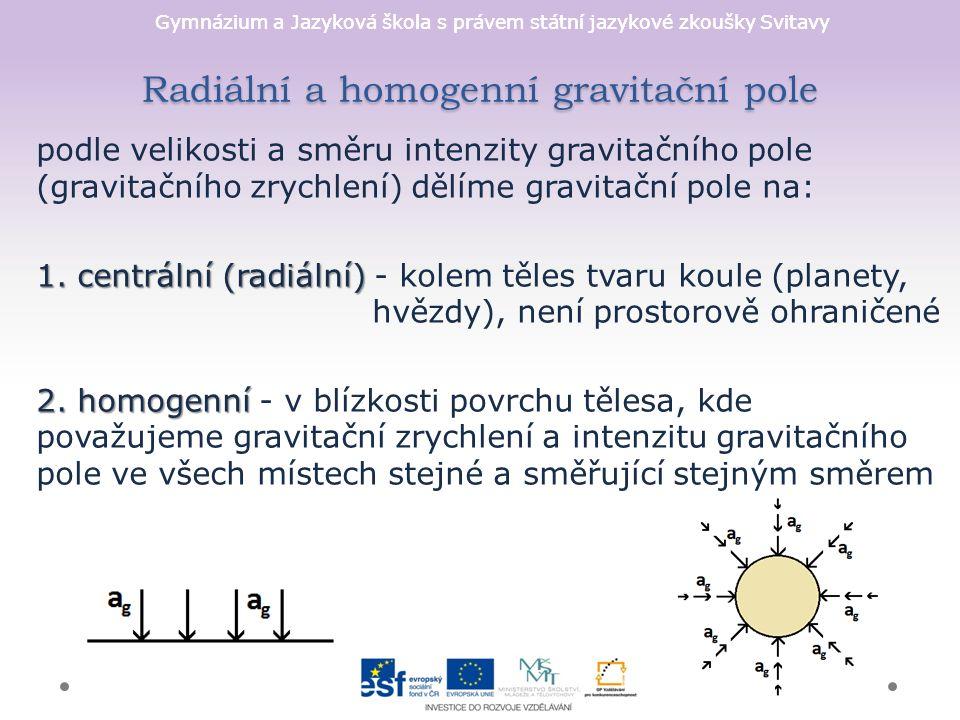 Gymnázium a Jazyková škola s právem státní jazykové zkoušky Svitavy Radiální a homogenní gravitační pole podle velikosti a směru intenzity gravitačníh