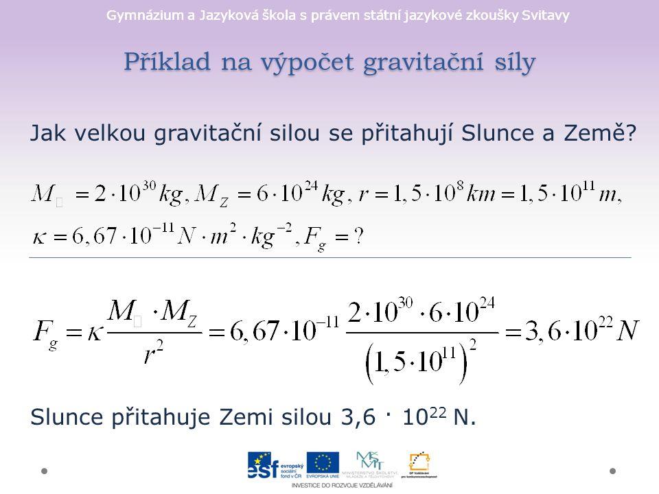 Gymnázium a Jazyková škola s právem státní jazykové zkoušky Svitavy Intenzita gravitačního pole vektorová veličina, byla zavedena pro porovnání silového působení v různých místech GP gravitační zrychlení směřuje vždy do středu Země a nezávisí na hmotnosti tělesa podle velikosti intenzity a gravitačního zrychlení dělíme gravitační pole na: 1.centrální (radiální) - kolem těles tvaru koule (planety, hvězdy), není prostorově ohraničené 2.homogenní - v blízkosti povrchu tělesa, kde považujeme gr.