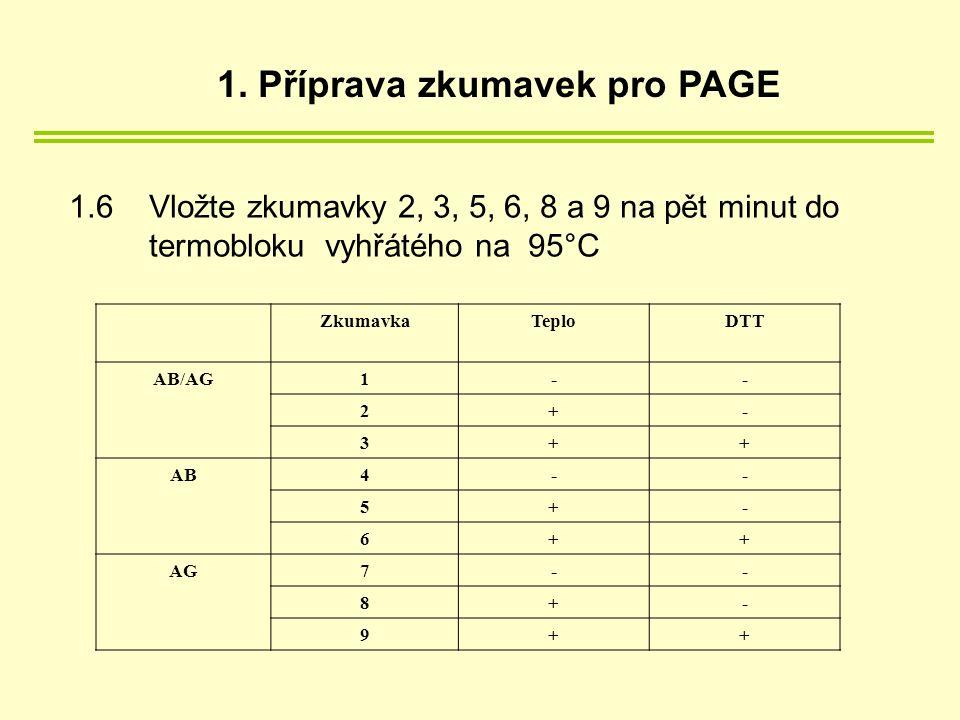 1.6 Vložte zkumavky 2, 3, 5, 6, 8 a 9 na pět minut do termobloku vyhřátého na 95°C ZkumavkaTeploDTT AB/AG1-- 2+- 3++ AB4-- 5+- 6++ AG7-- 8+- 9++ 1.