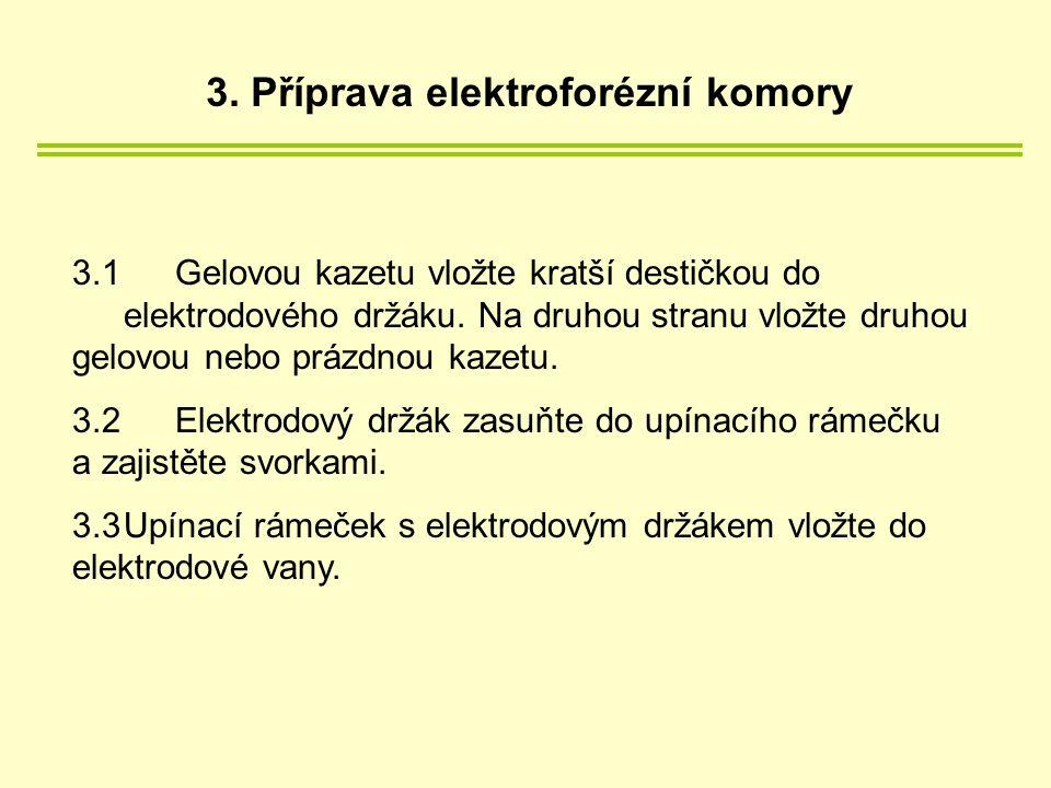 3.1 Gelovou kazetu vložte kratší destičkou do elektrodového držáku.