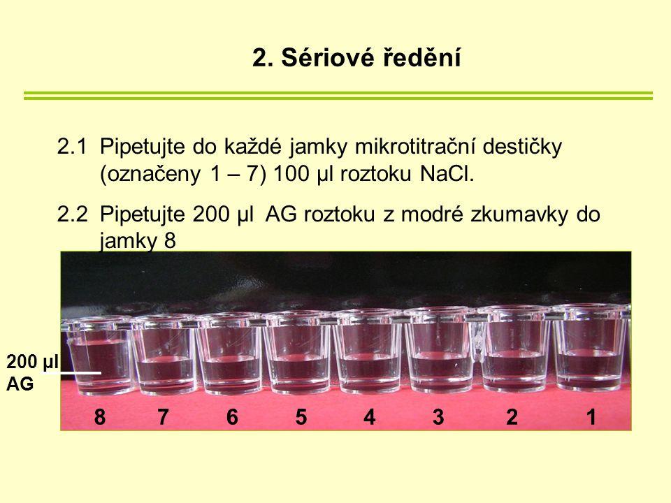 2.1 Pipetujte do každé jamky mikrotitrační destičky (označeny 1 – 7) 100 µl roztoku NaCl.