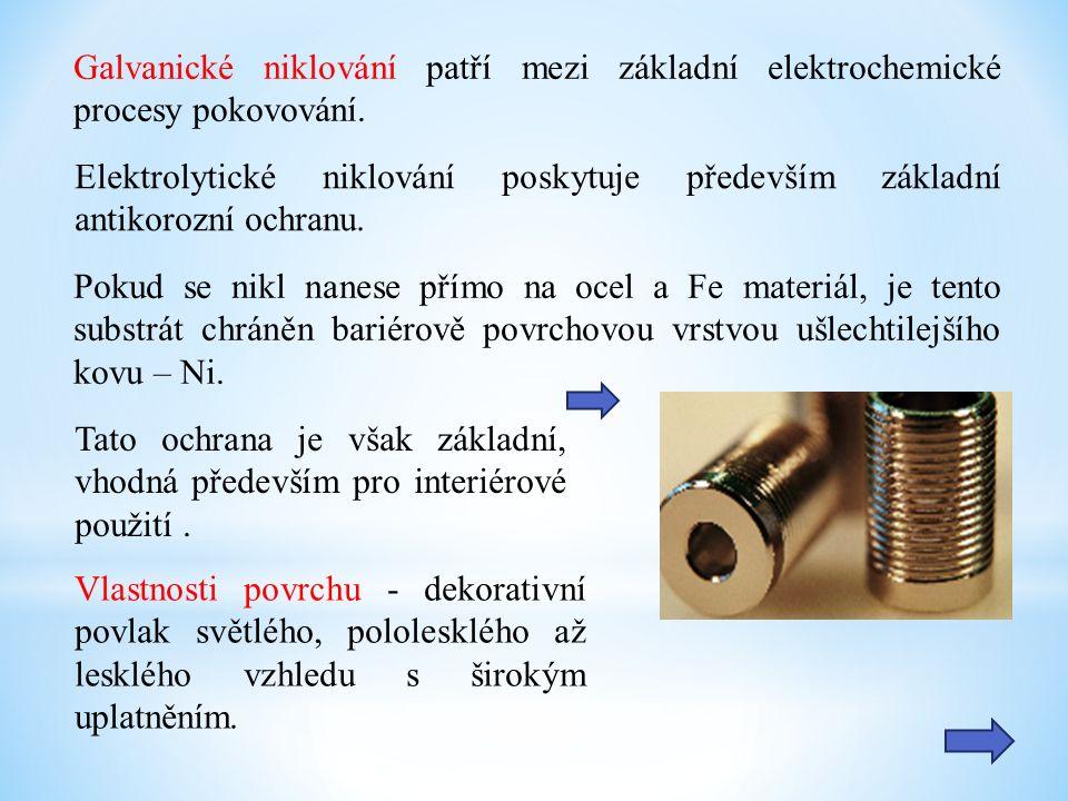 Galvanické niklování patří mezi základní elektrochemické procesy pokovování.