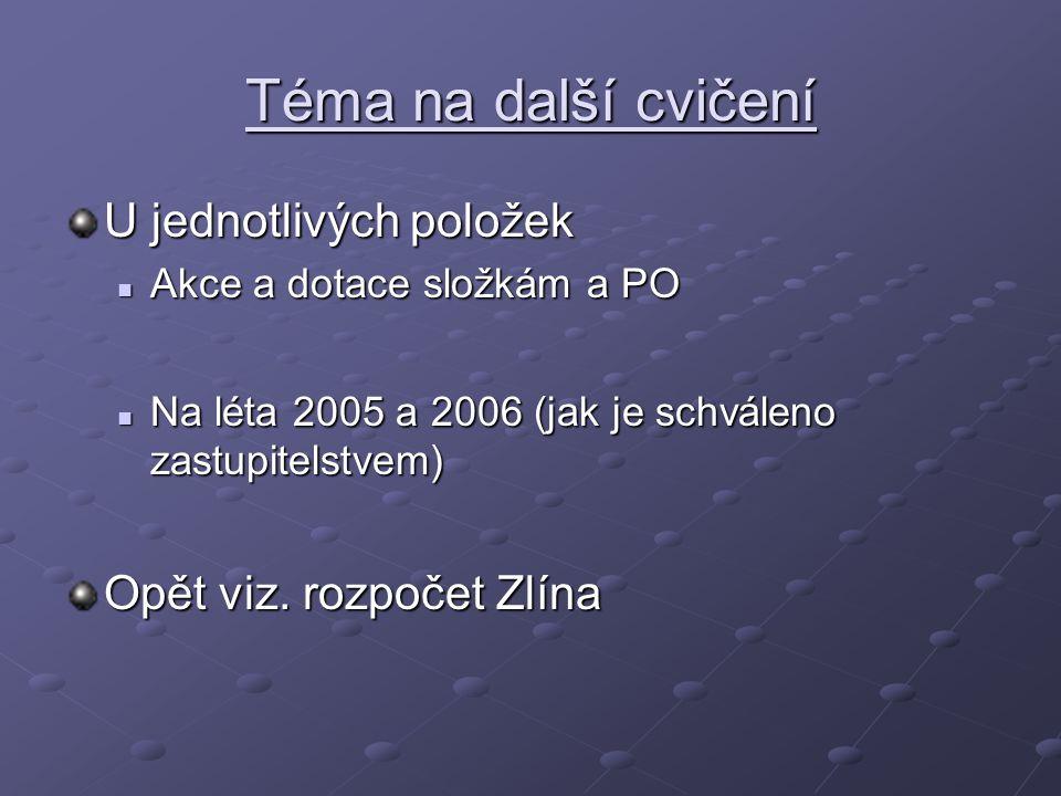Téma na další cvičení U jednotlivých položek Akce a dotace složkám a PO Akce a dotace složkám a PO Na léta 2005 a 2006 (jak je schváleno zastupitelstv