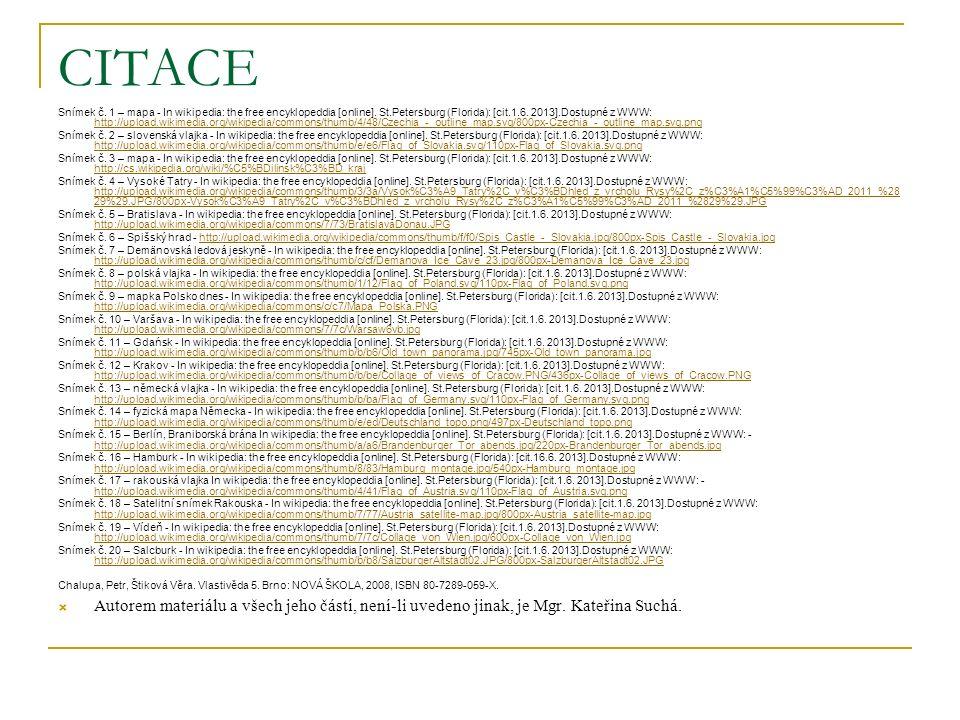 CITACE Snímek č. 1 – mapa - In wikipedia: the free encyklopeddia [online].