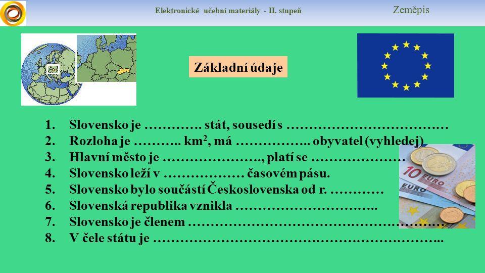 Elektronické učební materiály - II. stupeň Zeměpis Základní údaje 1.Slovensko je ………….