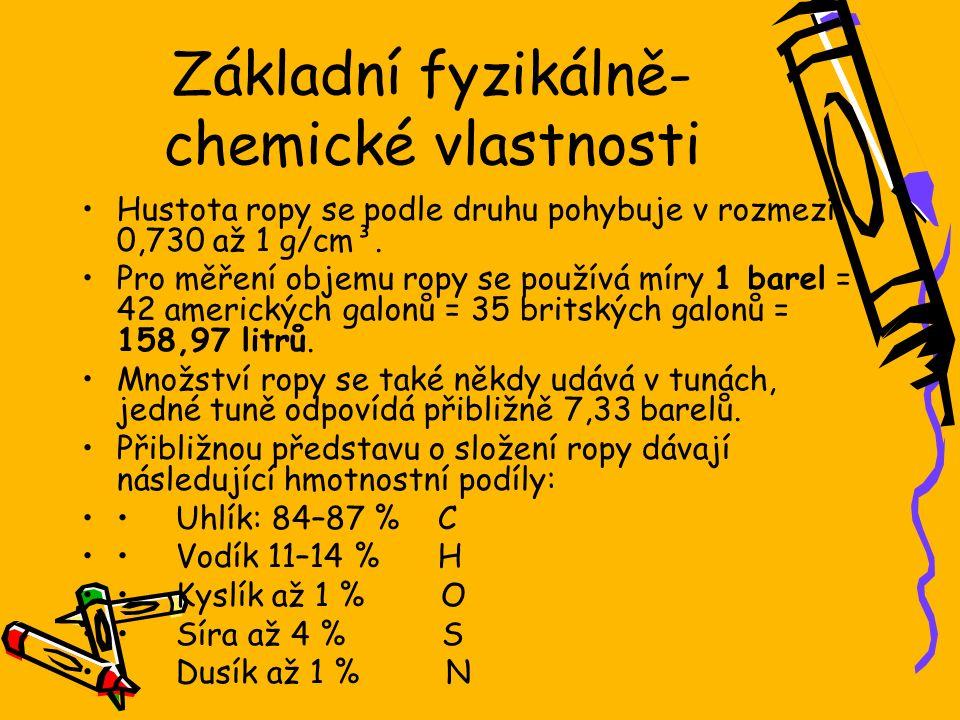Základní fyzikálně- chemické vlastnosti Hustota ropy se podle druhu pohybuje v rozmezí 0,730 až 1 g/cm³.