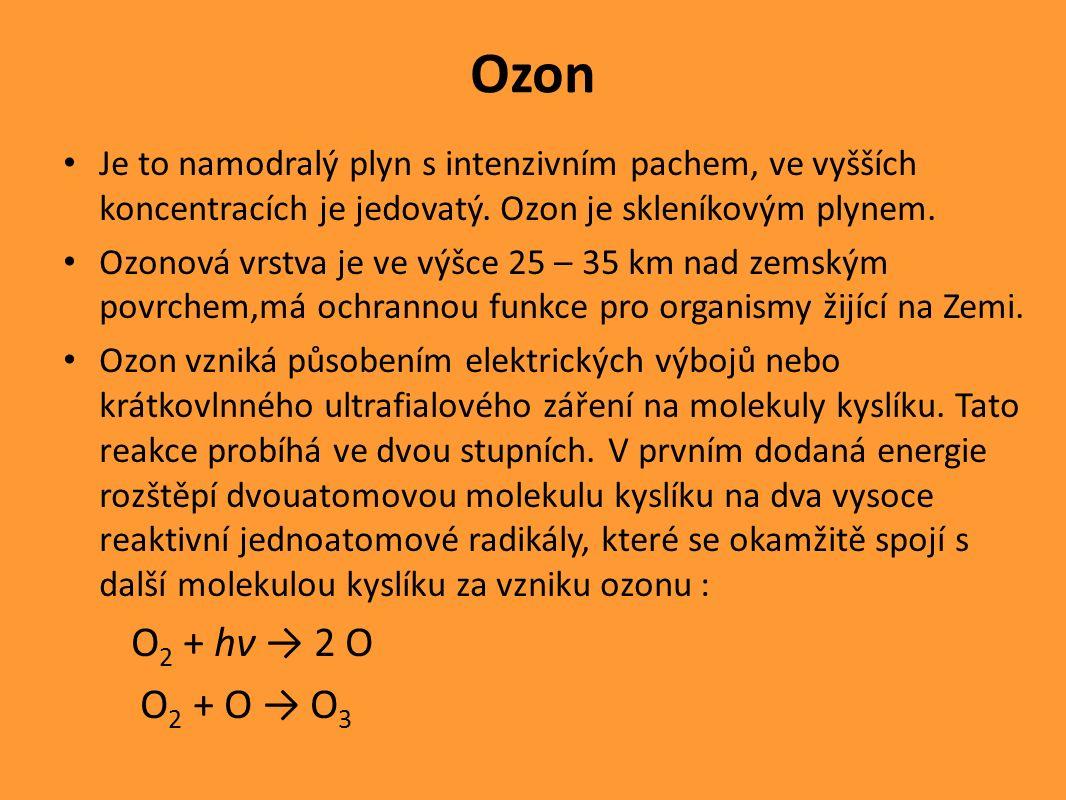 Ozon Je to namodralý plyn s intenzivním pachem, ve vyšších koncentracích je jedovatý.