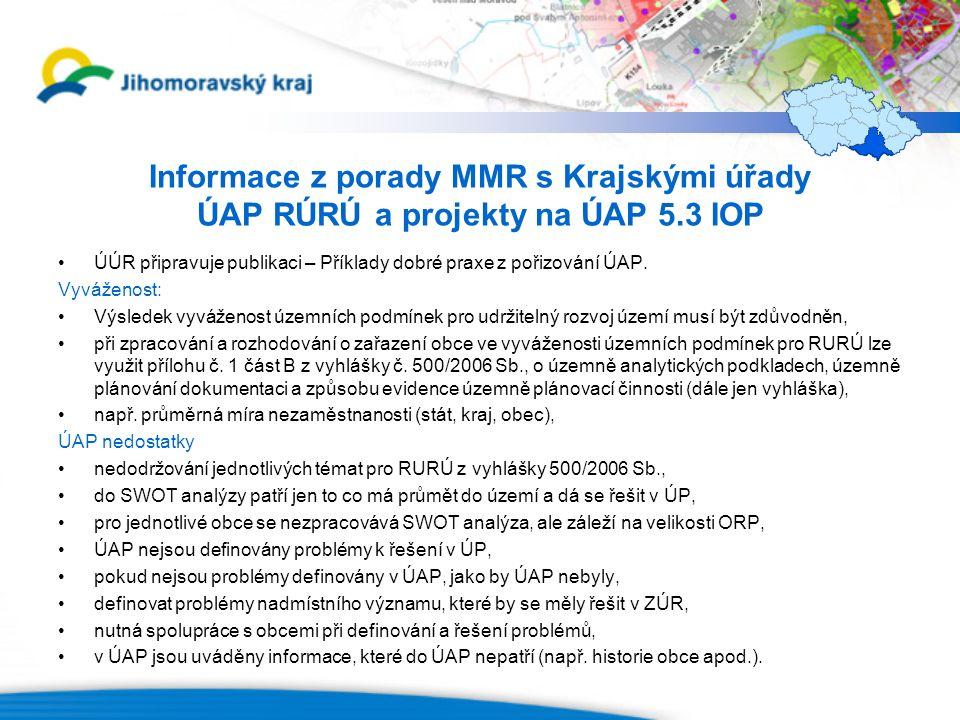 Informace z porady MMR s Krajskými úřady ÚAP RÚRÚ a projekty na ÚAP 5.3 IOP ÚÚR připravuje publikaci – Příklady dobré praxe z pořizování ÚAP.