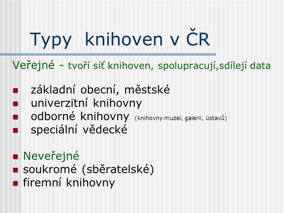 Typy knihoven v ČR Veřejné - tvoří síť knihoven, spolupracují,sdílejí data základní obecní, městské univerzitní knihovny odborné knihovny (knihovny muzeí, galerií, ústavů) speciální vědecké Neveřejné soukromé (sběratelské) firemní knihovny