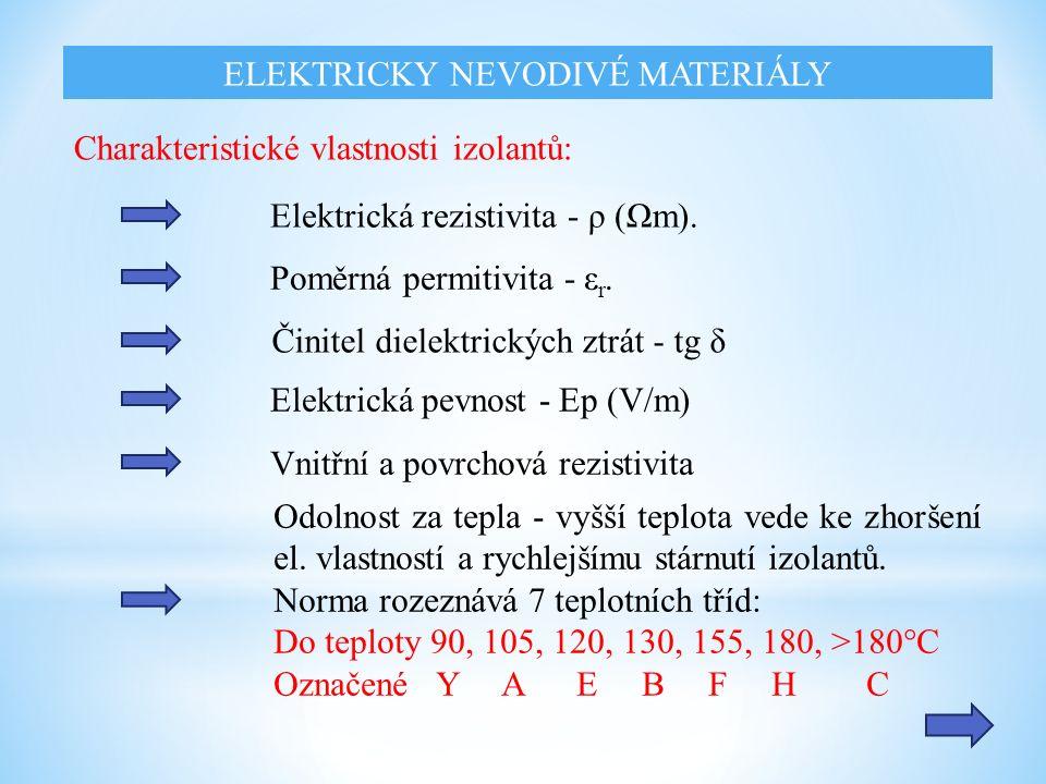 Charakteristické vlastnosti izolantů: Elektrická rezistivita - ρ (Ωm). Poměrná permitivita - ε r. Činitel dielektrických ztrát - tg δ Elektrická pevno
