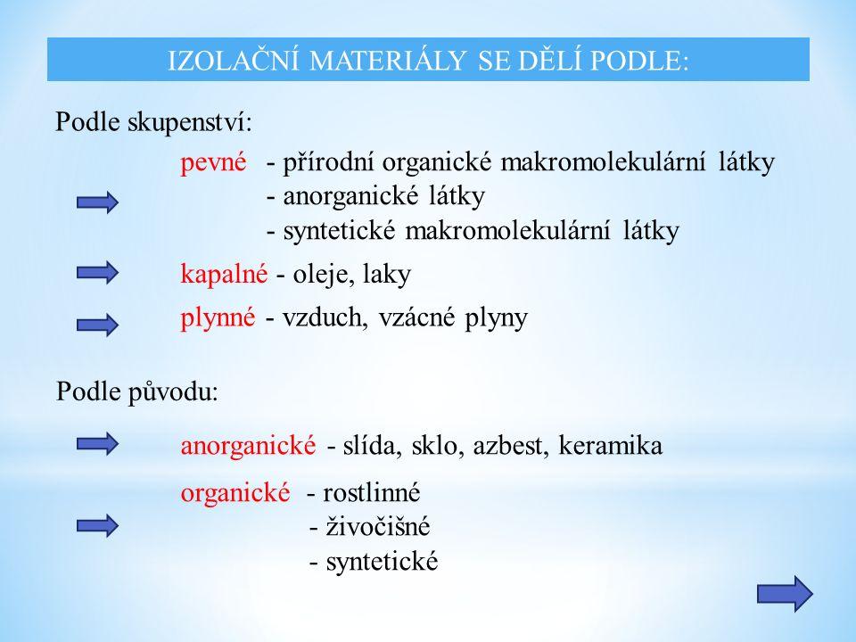 IZOLAČNÍ MATERIÁLY SE DĚLÍ PODLE: Podle skupenství: kapalné - oleje, laky plynné - vzduch, vzácné plyny pevné - přírodní organické makromolekulární látky - anorganické látky - syntetické makromolekulární látky Podle původu: anorganické - slída, sklo, azbest, keramika organické - rostlinné - živočišné - syntetické
