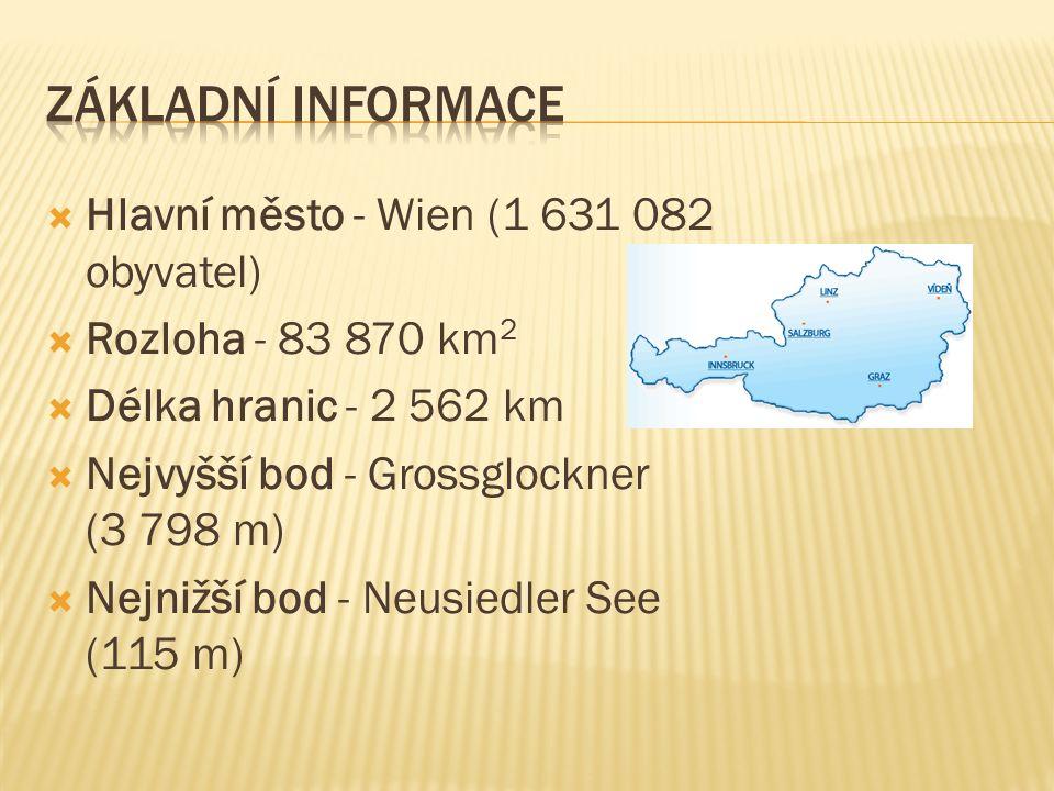  Hlavní město - Wien (1 631 082 obyvatel)  Rozloha - 83 870 km 2  Délka hranic - 2 562 km  Nejvyšší bod - Grossglockner (3 798 m)  Nejnižší bod - Neusiedler See (115 m)