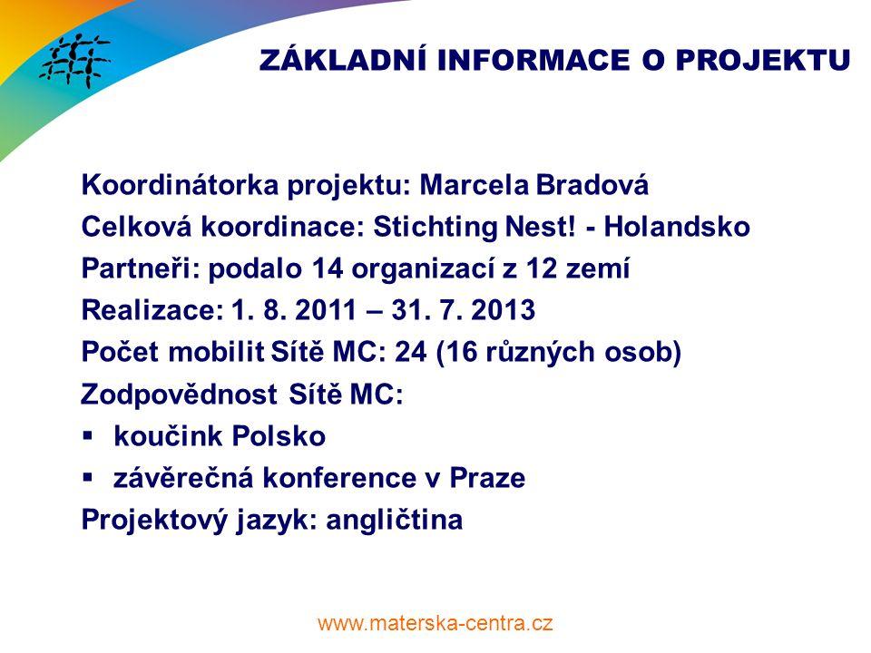 www.materska-centra.cz ZÁKLADNÍ INFORMACE O PROJEKTU Koordinátorka projektu: Marcela Bradová Celková koordinace: Stichting Nest.
