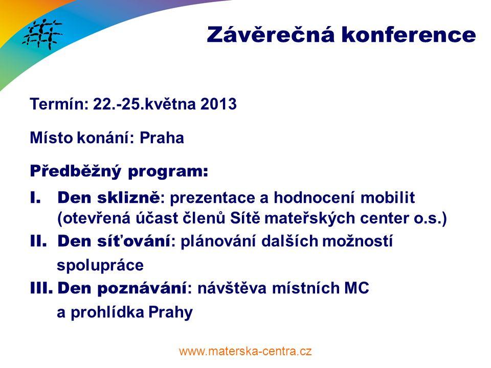 www.materska-centra.cz Závěrečná konference Termín: 22.-25.května 2013 Místo konání: Praha Předběžný program: I.Den sklizně : prezentace a hodnocení m