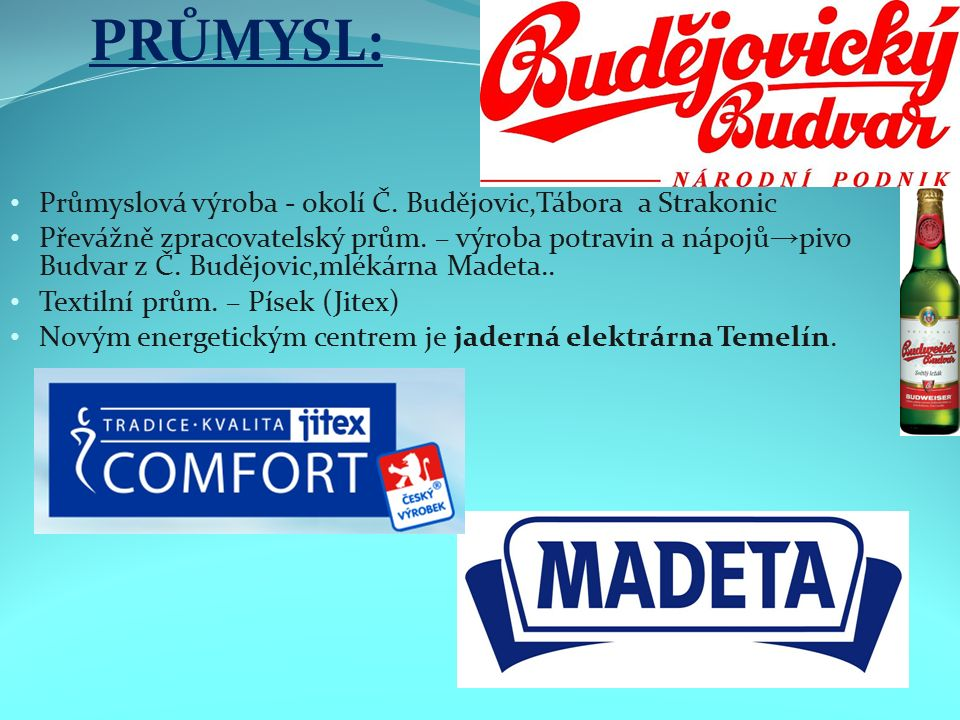 Průmyslová výroba - okolí Č. Budějovic,Tábora a Strakonic Převážně zpracovatelský prům.