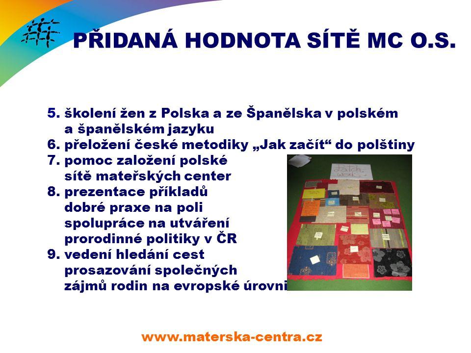 PŘIDANÁ HODNOTA SÍTĚ MC O.S. www.materska-centra.cz 5.