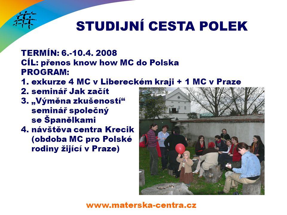 STUDIJNÍ CESTA POLEK www.materska-centra.cz TERMÍN: 6.-10.4.