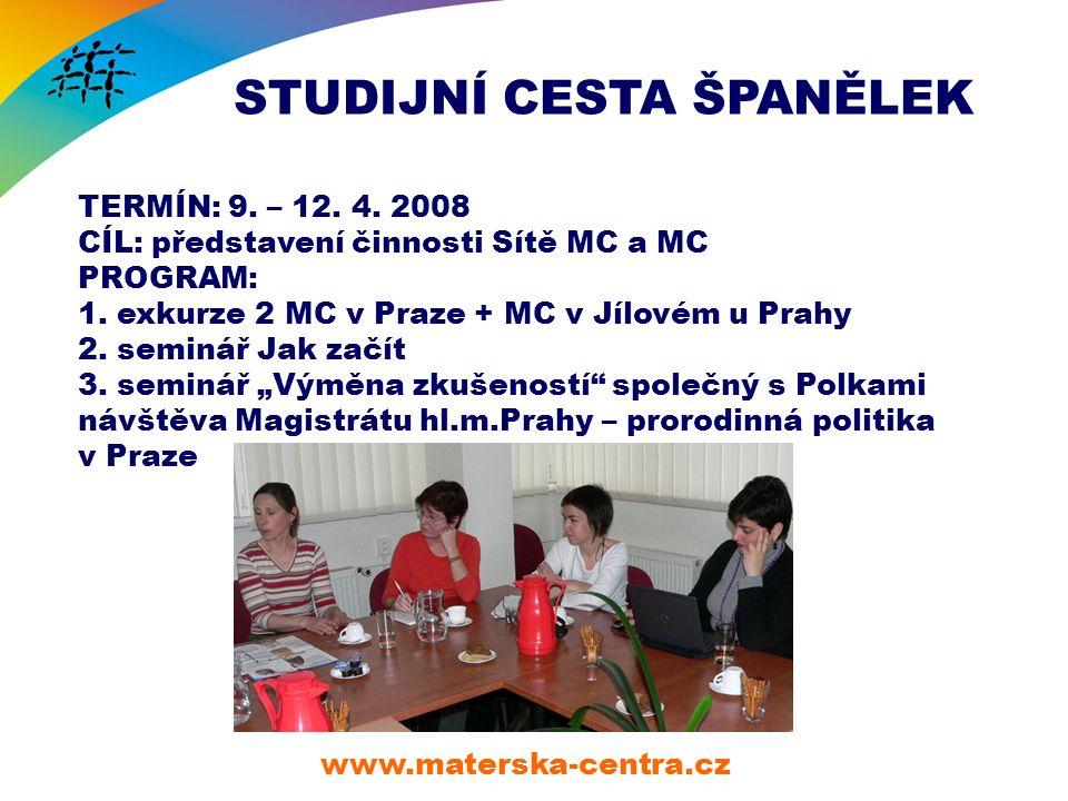 STUDIJNÍ CESTA ŠPANĚLEK www.materska-centra.cz TERMÍN: 9.