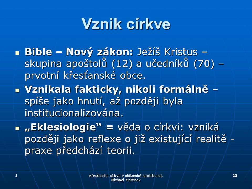 1 Křesťanské církve v občanské společnosti.