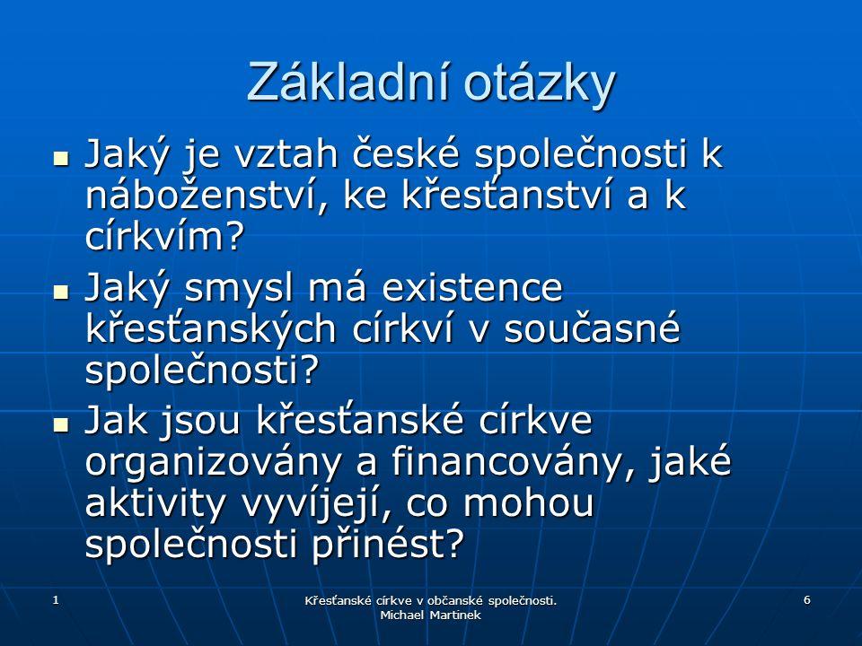 1 6 Základní otázky Jaký je vztah české společnosti k náboženství, ke křesťanství a k církvím.