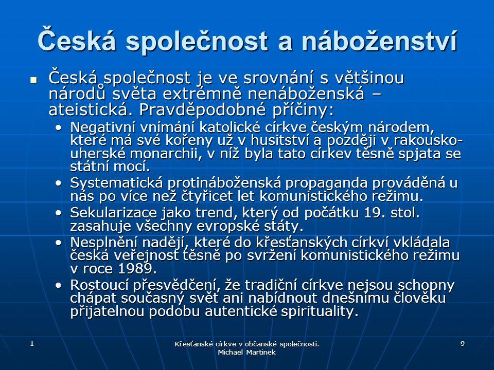1 9 Česká společnost a náboženství Česká společnost je ve srovnání s většinou národů světa extrémně nenáboženská – ateistická.