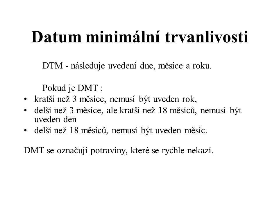 Datum minimální trvanlivosti DTM - následuje uvedení dne, měsíce a roku.