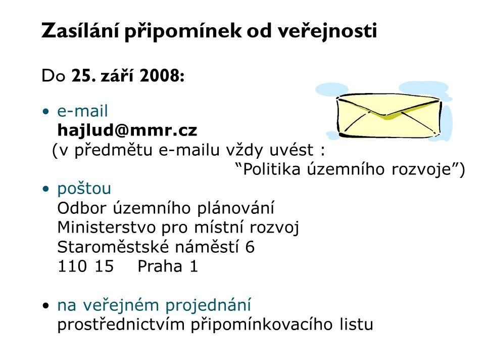 """Zasílání připomínek od veřejnosti e-mail hajlud@mmr.cz (v předmětu e-mailu vždy uvést : """"Politika územního rozvoje"""") poštou Odbor územního plánování M"""