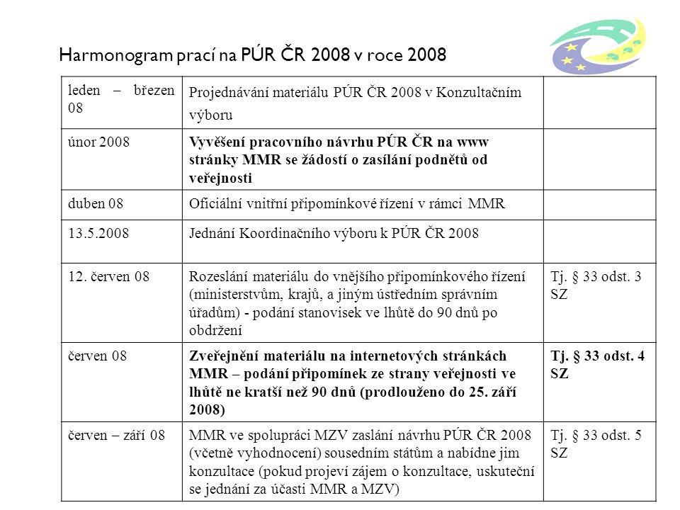 Harmonogram prací na PÚR ČR 2008 v roce 2008 leden – březen 08 Projednávání materiálu PÚR ČR 2008 v Konzultačním výboru únor 2008Vyvěšení pracovního n