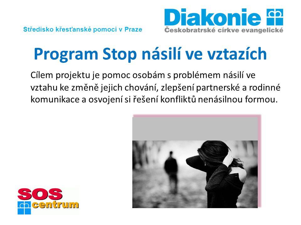 Středisko křesťanské pomoci v Praze Program Stop násilí ve vztazích Cílem projektu je pomoc osobám s problémem násilí ve vztahu ke změně jejich chování, zlepšení partnerské a rodinné komunikace a osvojení si řešení konfliktů nenásilnou formou.