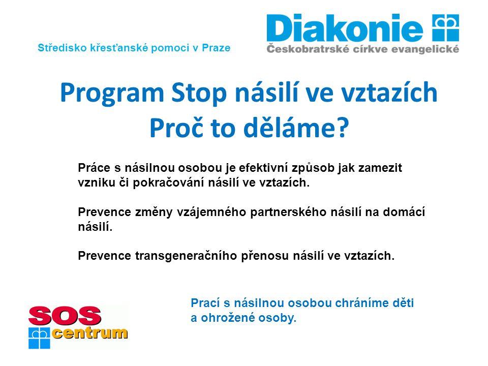 Středisko křesťanské pomoci v Praze Program Stop násilí ve vztazích Proč to děláme? Práce s násilnou osobou je efektivní způsob jak zamezit vzniku či