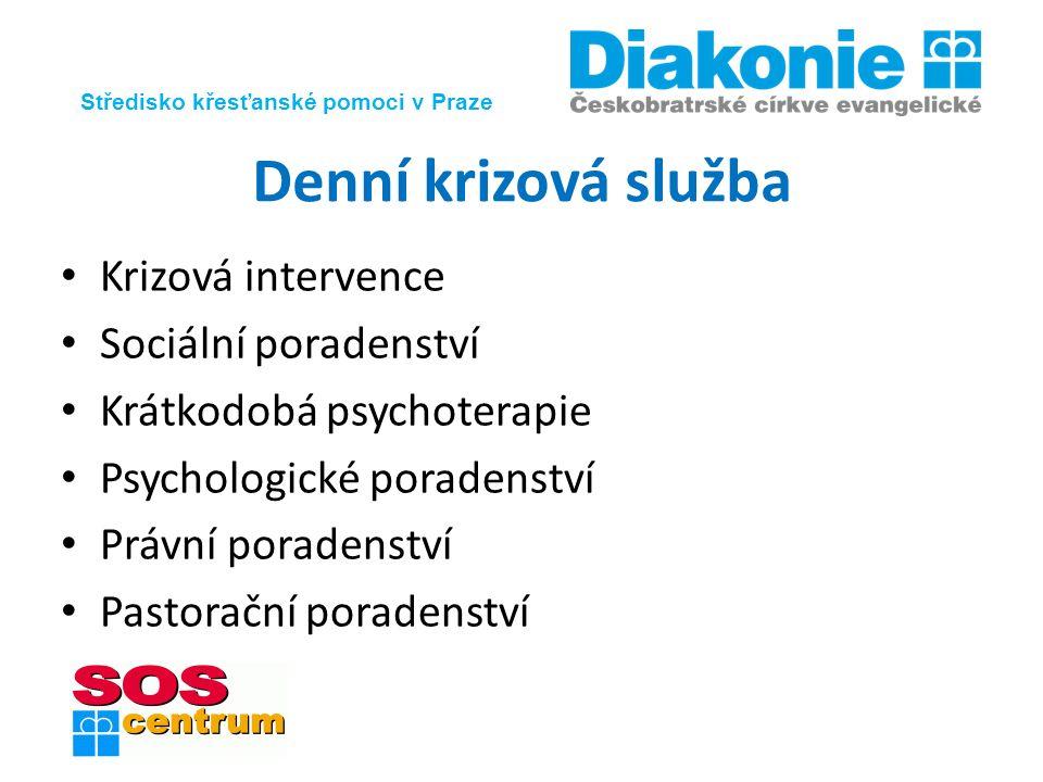 Středisko křesťanské pomoci v Praze Denní krizová služba Krizová intervence Sociální poradenství Krátkodobá psychoterapie Psychologické poradenství Právní poradenství Pastorační poradenství