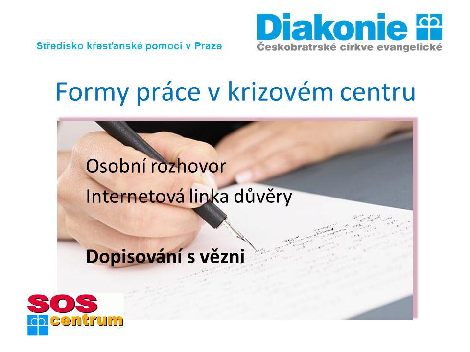 Středisko křesťanské pomoci v Praze Formy práce v krizovém centru Osobní rozhovor Internetová linka důvěry Dopisování s vězni