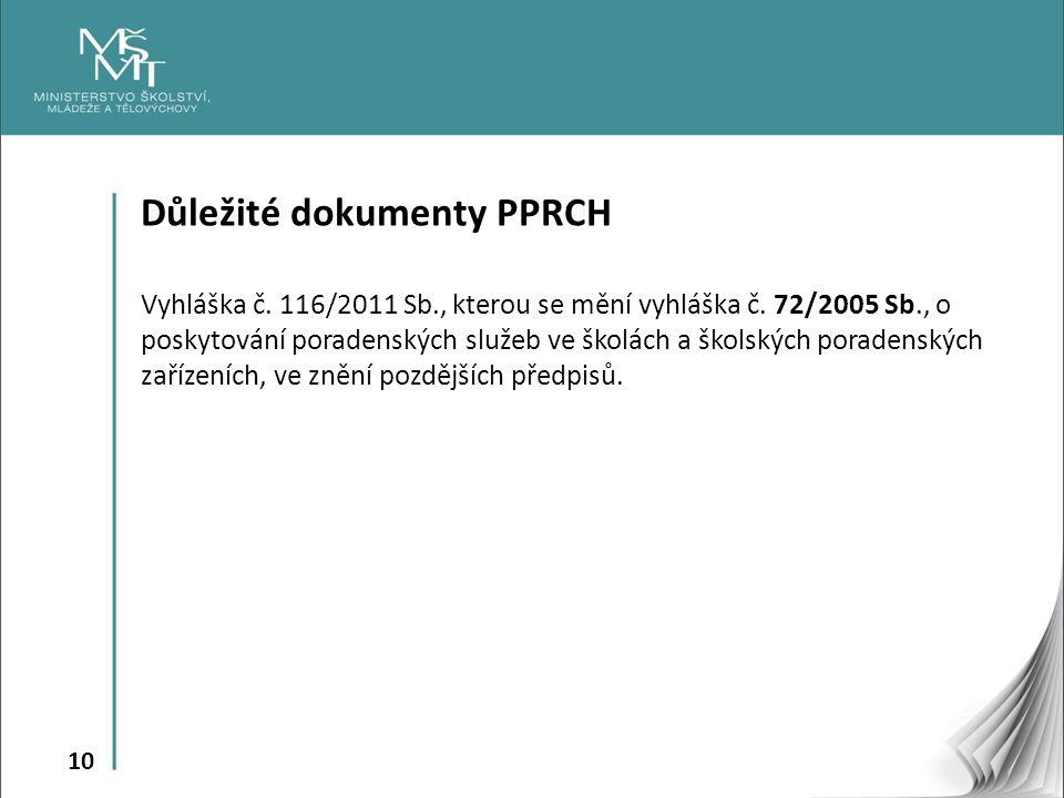 10 Důležité dokumenty PPRCH Vyhláška č. 116/2011 Sb., kterou se mění vyhláška č.