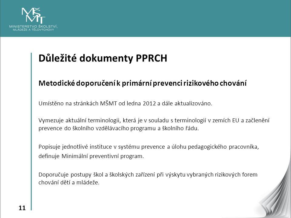 11 Důležité dokumenty PPRCH Metodické doporučení k primární prevenci rizikového chování Umístěno na stránkách MŠMT od ledna 2012 a dále aktualizováno.