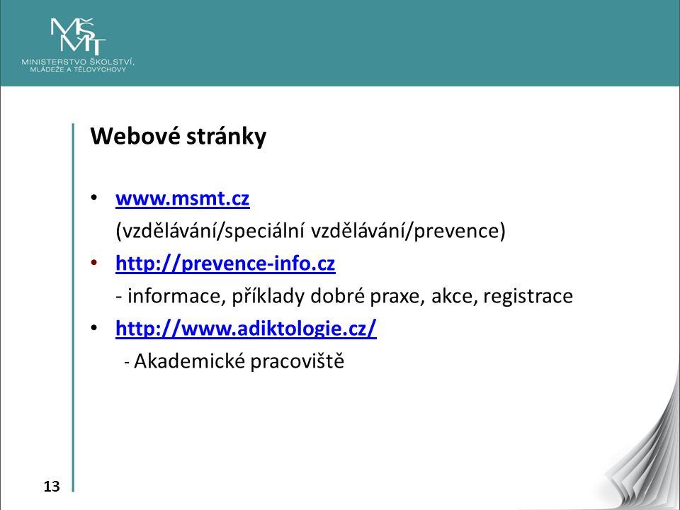 13 Webové stránky www.msmt.cz (vzdělávání/speciální vzdělávání/prevence) http://prevence-info.cz http://prevence-info.cz - informace, příklady dobré praxe, akce, registrace http://www.adiktologie.cz/ - Akademické pracoviště