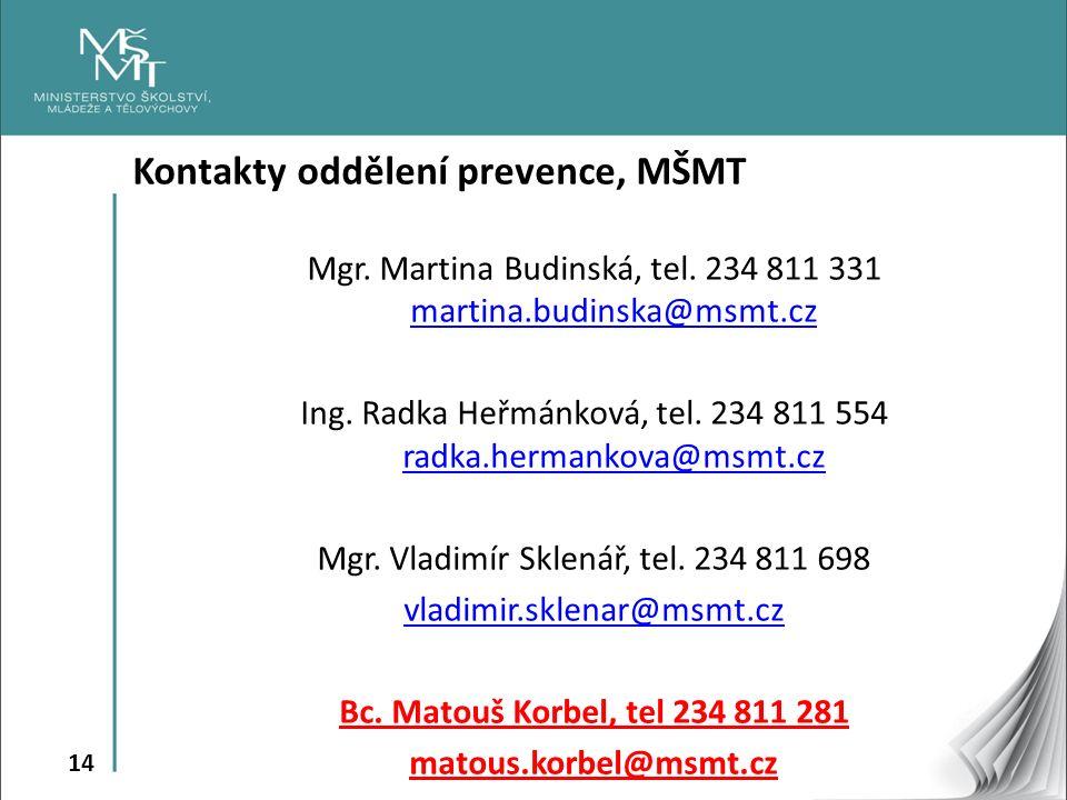 14 Kontakty oddělení prevence, MŠMT Mgr. Martina Budinská, tel.