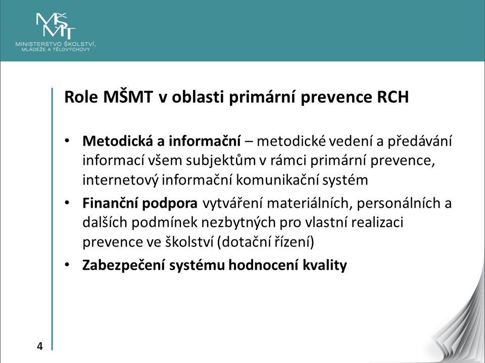 4 Role MŠMT v oblasti primární prevence RCH Metodická a informační – metodické vedení a předávání informací všem subjektům v rámci primární prevence, internetový informační komunikační systém Finanční podpora vytváření materiálních, personálních a dalších podmínek nezbytných pro vlastní realizaci prevence ve školství (dotační řízení) Zabezpečení systému hodnocení kvality
