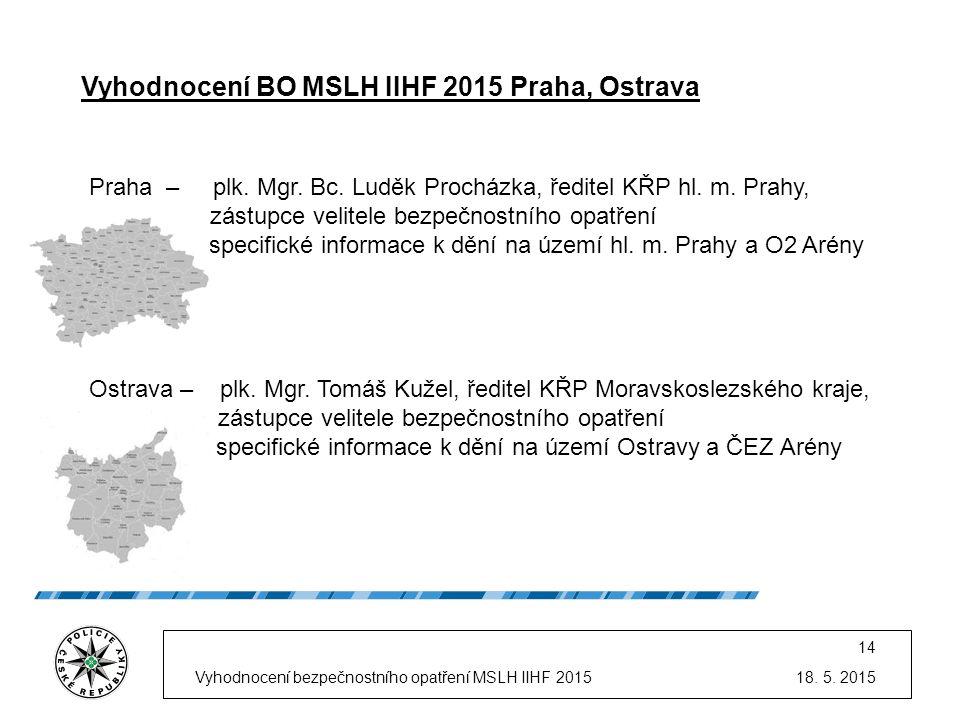 18. 5. 2015Vyhodnocení bezpečnostního opatření MSLH IIHF 2015 14 Praha – plk. Mgr. Bc. Luděk Procházka, ředitel KŘP hl. m. Prahy, - zástupce velitele
