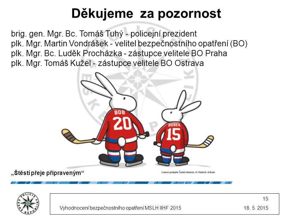 18. 5. 2015Vyhodnocení bezpečnostního opatření MSLH IIHF 2015 15 Děkujeme za pozornost brig. gen. Mgr. Bc. Tomáš Tuhý - policejní prezident plk. Mgr.