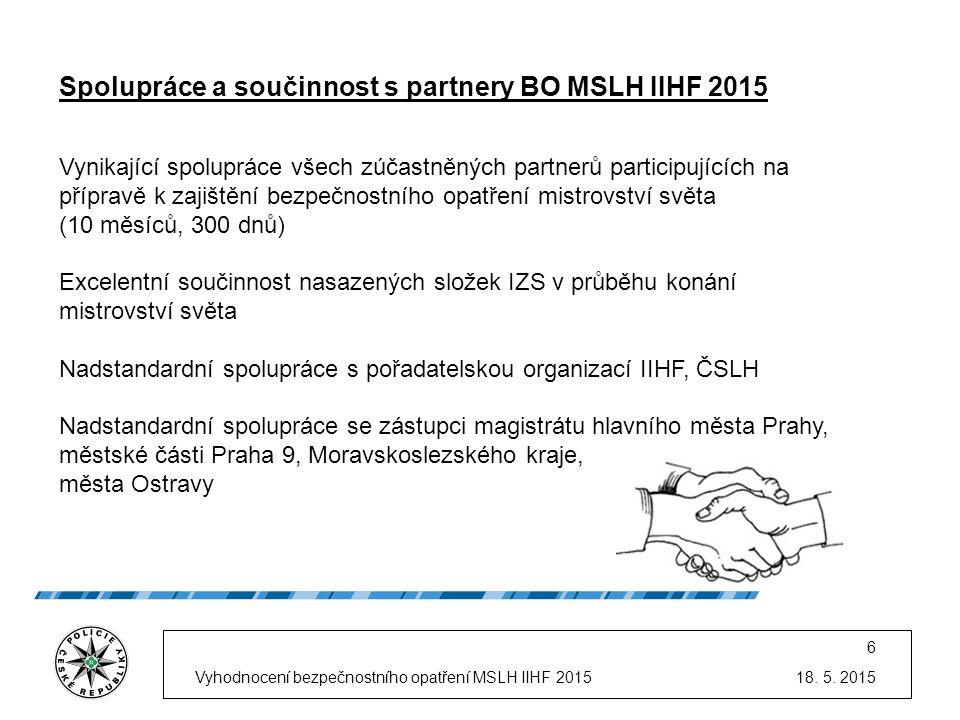 18. 5. 2015Vyhodnocení bezpečnostního opatření MSLH IIHF 2015 6 Spolupráce a součinnost s partnery BO MSLH IIHF 2015 Vynikající spolupráce všech zúčas